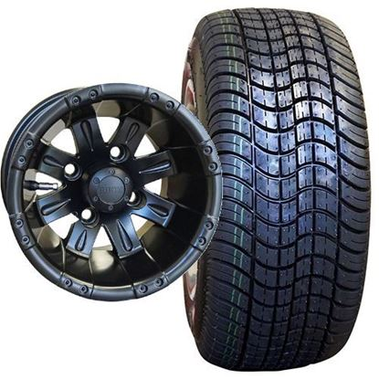 Picture of Non-Lifted, Set of (4) Tire & Wheel Combo: RHOX DOT Low Profile 205/50-10 Tire and RHOX Vegas 10x7 Matte Black Wheel