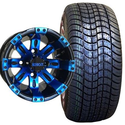 Picture of Non-Lifted, Set of (4) Tire & Wheel Combo: RHOX DOT Low Profile 205/50-10 Tire and RHOX Vegas 10x7 Blue/Black Wheel