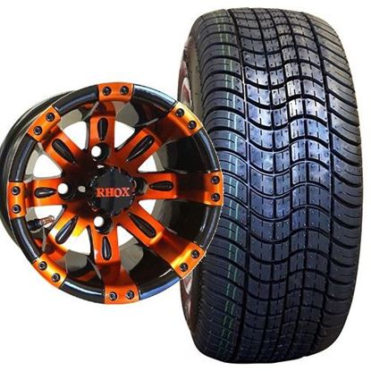 Picture of Non-Lifted, Set of (4) Tire & Wheel Combo: RHOX DOT Low Profile 205/50-10 Tire and RHOX Vegas 10x7 Orange/Black Wheel