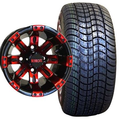 Picture of Non-Lifted, Set of (4) Tire & Wheel Combo: RHOX DOT Low Profile 205/50-10 Tire and RHOX Vegas 10x7 Red/Black Wheel