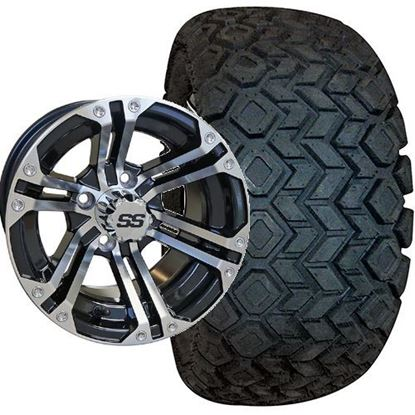 Picture of Lifted, Set of (4) Tire & Wheel Combo: RHOX Mojave DOT 22x10.5-12 and RHOX 12x7 RX330 Gloss Black/Machined Silver Wheel