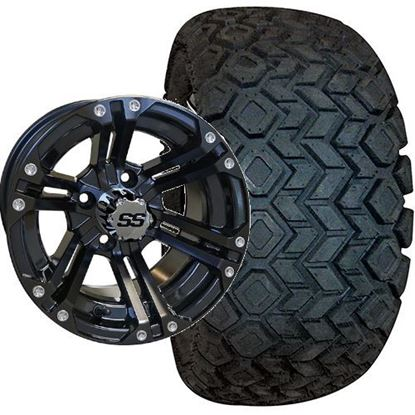 Picture of Lifted, Set of (4) Tire & Wheel Combo: RHOX Mojave DOT 22x10.5-12 and RHOX 12x7 RX331 Gloss Black Wheel