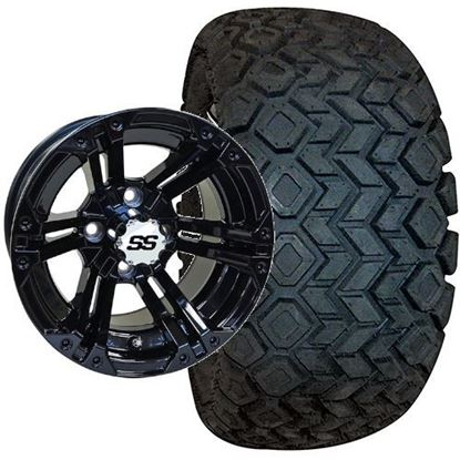 Picture of Lifted, Set of (4) Tire & Wheel Combo: RHOX Mojave DOT 22x10.5-12 and RHOX 12x7 RX334 Gloss Black Wheel
