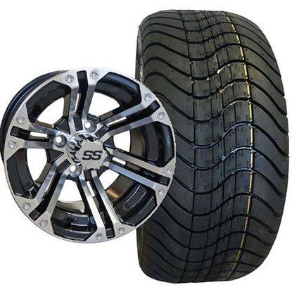 Picture of Non-Lifted, Set of (4) Tire & Wheel Combo: RHOX RXLP DOT 215/40-12 Low Profile Tire and RHOX 12x7 RX330 Gloss Black/Machined Silver Wheel