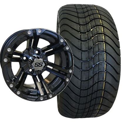Picture of Non-Lifted, Set of (4) Tire & Wheel Combo: RHOX RXLP DOT 215/40-12 Low Profile Tire and RHOX 12x7 RX331 Gloss Black Wheel