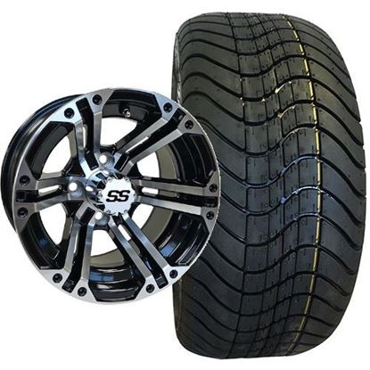 Picture of Non-Lifted, Set of (4) Tire & Wheel Combo: RHOX RXLP DOT 215/40-12 Low Profile Tire and RHOX 12x7 RX333 Gloss Black/Machined Silver Wheel
