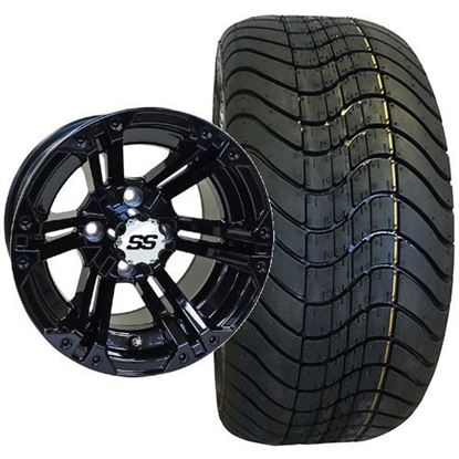 Picture of Non-Lifted, Set of (4) Tire & Wheel Combo: RHOX RXLP DOT 215/40-12 Low Profile Tire and RHOX 12x7 RX334 Gloss Black Wheel