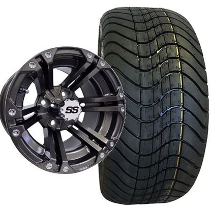 Picture of Non-Lifted, Set of (4) Tire & Wheel Combo: RHOX RXLP DOT 215/40-12 Low Profile Tire and RHOX 12x7 RX335 Gun Metal Gray Wheel