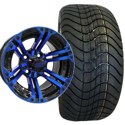 Picture of Non-Lifted, Set of (4) Tire & Wheel Combo: RHOX RXLP DOT 215/40-12 Low Profile Tire and RHOX 12x7 RX334 Black/Blue Wheel