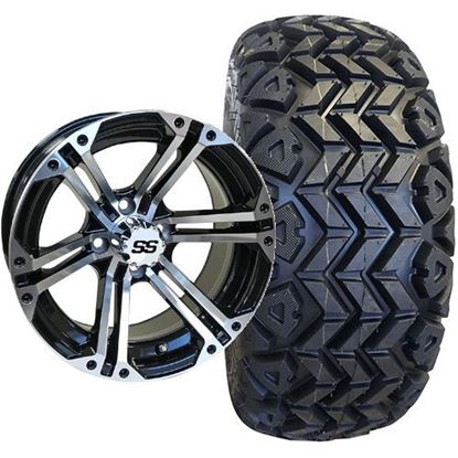 Picture of Lifted, Set of (4) Tire & Wheel Combo: Rhox RXAT DOT 23x10-14 and Rhox 14x7 RX353 Gloss Black/Machined Silver Wheel