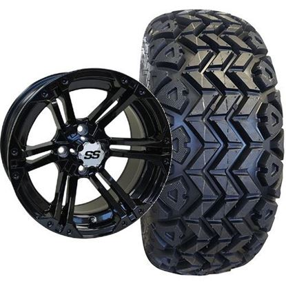 Picture of Lifted, Set of (4) Tire & Wheel Combo: Rhox RXAT DOT 23x10-14 and Rhox 14x7 RX354 Gloss Black Wheel