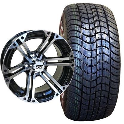 Picture of Non-Lifted, Set of (4) Tire & Wheel Combo: Rhox RXLP DOT 225/30-14 and Rhox 14x7 RX353 Machined Silver/Gloss Black Wheel