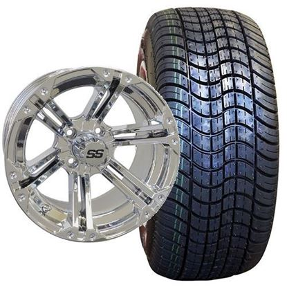 Picture of Non-Lifted, Set of (4) Tire & Wheel Combo: Rhox RXLP DOT 225/30-14 and Rhox 14x7 RX352 Chrome Wheel