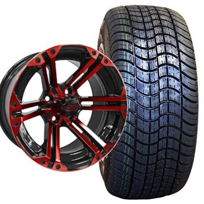 Picture of Non-Lifted, Set of (4) Tire & Wheel Combo: Rhox RXLP DOT 225/30-14 and Rhox 14x7 RX354 Red/Black Wheel