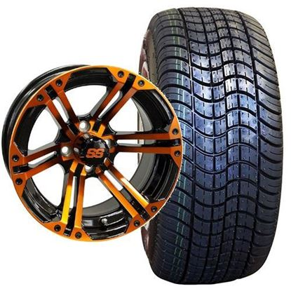 Picture of Non-Lifted, Set of (4) Tire & Wheel Combo: Rhox RXLP DOT 225/30-14 and Rhox 14x7 RX354 Orange/Black Wheel