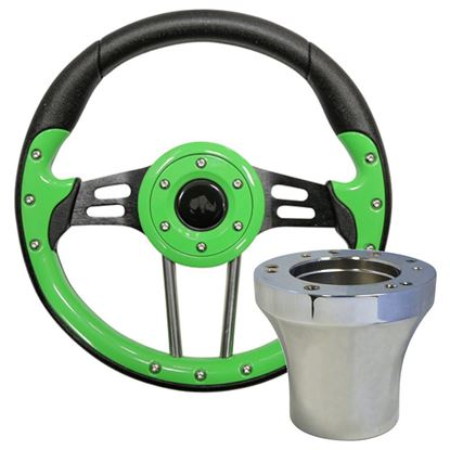 "Picture of Lime Green Aviator 4 - 13"" Steering Wheel, Choose Club Car Model to Add Chrome Adapter"