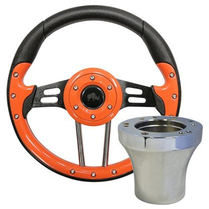 "Picture of Orange Aviator 4 - 13"" Steering Wheel, Choose Club Car Model to Add Chrome Adapter"