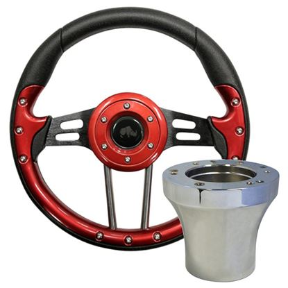 "Picture of Red Aviator 4 - 13"" Steering Wheel, Choose Club Car Model to Add Chrome Adapter"