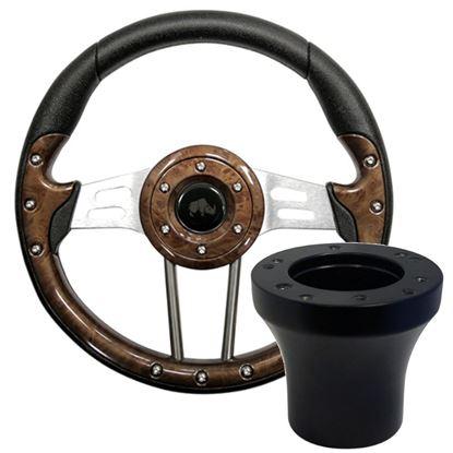 "Picture of Woodgrain Aviator 4 - 13"" Steering Wheel, Choose Club Car Model to Add Black Adapter"