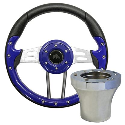 "Picture of Blue Aviator 4 - 13"" Steering Wheel, Choose Club Car Model to Add Chrome Adapter"