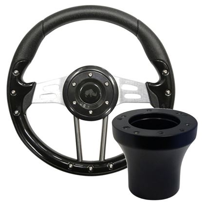 "Picture of Black Aviator 4 - 13"" Steering Wheel, Choose Club Car Model to Add Black Adapter"