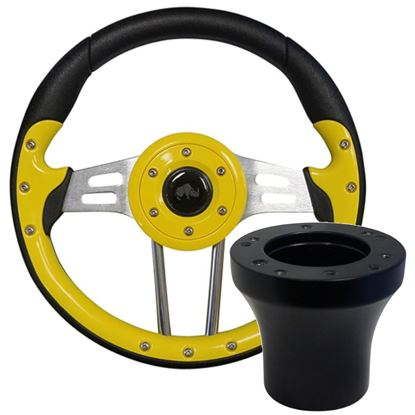"""Picture of Yellow Aviator 4 - 13"""" Steering Wheel, Choose Club Car Model to Add Black Adapter"""