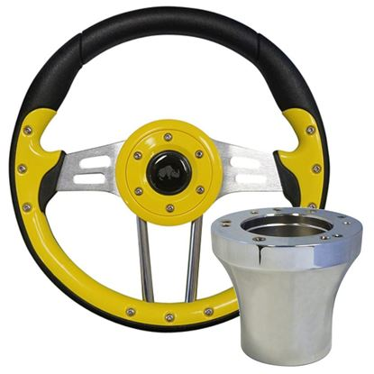 "Picture of Yellow Aviator 4 - 13"" Steering Wheel, Choose Club Car Model to Add Chrome Adapter"