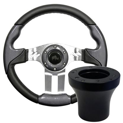 """Picture of Carbon Fiber Aviator 5 - 13"""" Steering Wheel, Choose Club Car Model to Add Black Adapter"""