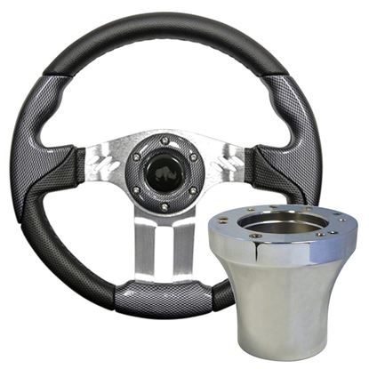"Picture of Carbon Fiber Aviator 5 - 13"" Steering Wheel, Choose Club Car Model to Add Chrome Adapter"