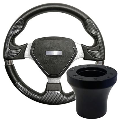 """Picture of Carbon Fiber Bonneville - 13"""" Steering Wheel, Choose Club Car Model to Add Black Adapter"""