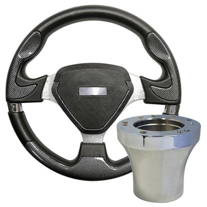 """Picture of Carbon Fiber Bonneville - 13"""" Steering Wheel, Choose Club Car Model to Add Chrome Adapter"""