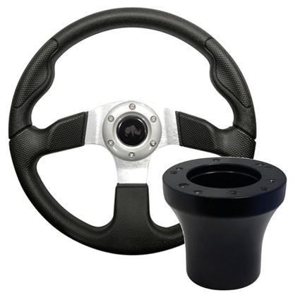 """Picture of Black & Silver Formula GT - 13"""" Steering Wheel, Choose Club Car Model to Add Black Adapter"""