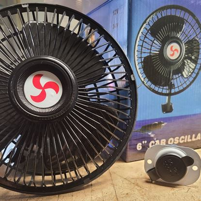"Picture of 6"" Portable, Adjustable Oscillating Golf Cart Fan - 12V"